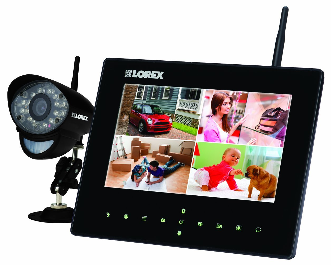 Lorex Wireless Video Surveillance System Series with 7-Inch LCD Monitor and 4 Camera