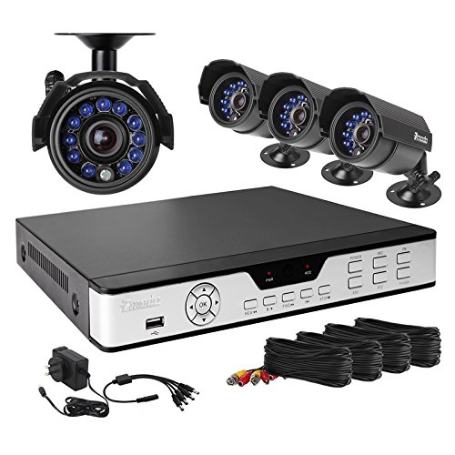Zmodo Internet and 3G Phone Accessible 4-Channel DVR with 4 Night Vision Cameras